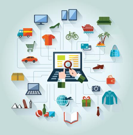 carro supermercado: Piso y diseño web bandera Las compras en línea y el negocio de fondo conceptual