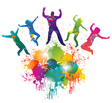 teenagers group: Background with jumping and dancing people and colorful splash