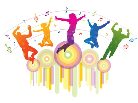 Music background with dancing people   Vector