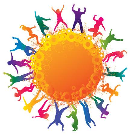jeunes joyeux: Heureux les jeunes gens silhouettes d�taill�es des adolescents de danse Concept de fond