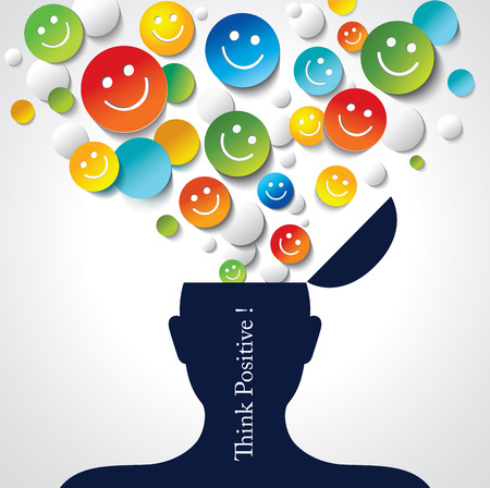 smile icon: Positive thinking   Conceptual background Illustration
