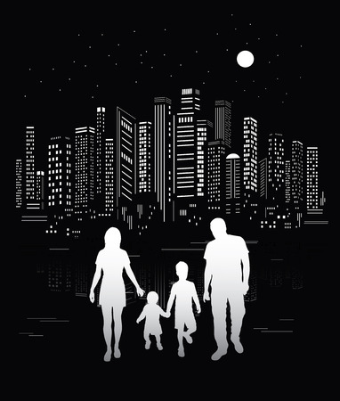 City life  Urban background and family silhouettes  Vector