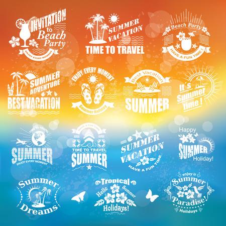 一套夏季设计元素和框架热带背景旅游和度假标签