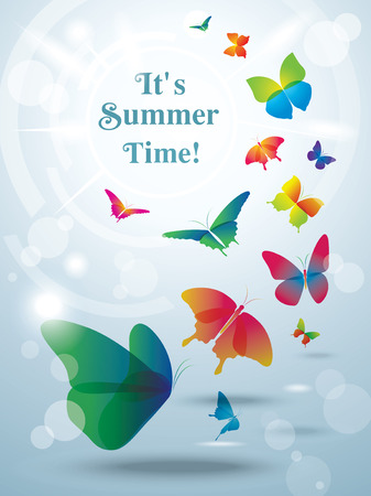 yellow butterfly: Greeting card with butterflies  Summer background   Illustration