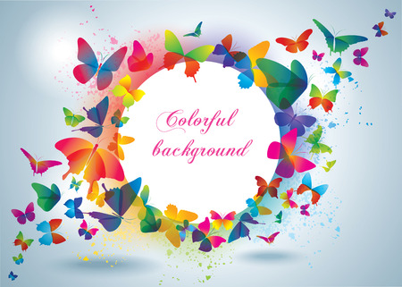 Colorful frame with butterflies  Summer background