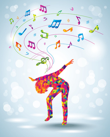 Dancing young girl  Music background   Vector