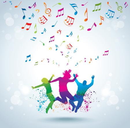 음악과 젊은 사람들이 개념 배경 일러스트