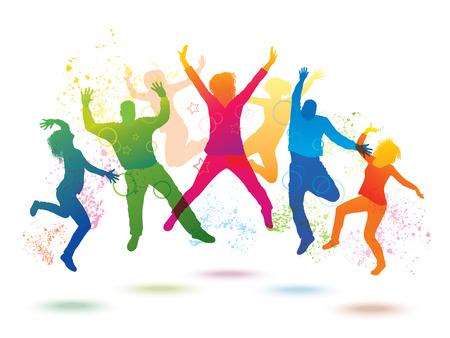 Colorful background with dancing people