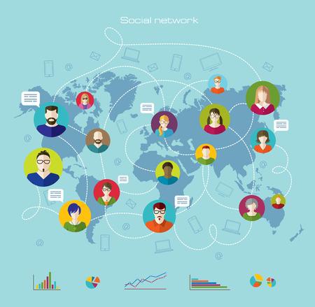La comunicación global. Internet. Infografía. Iconos planos y líneas. Ilustración de vector