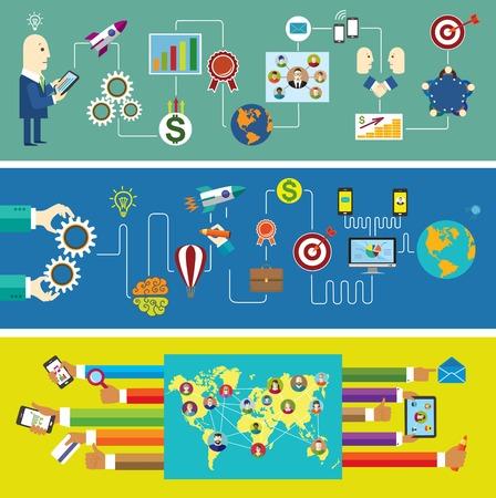 e business: Set of banners. Business start. Social network. Communication.