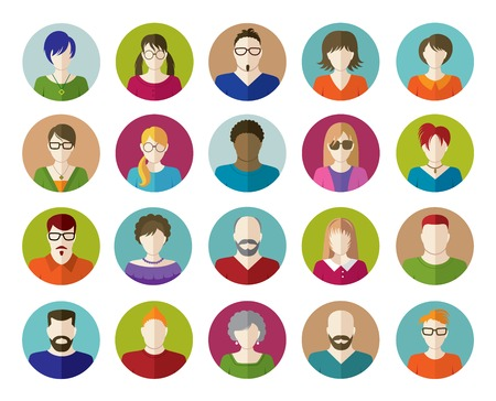 Set of People Flat icons.  向量圖像