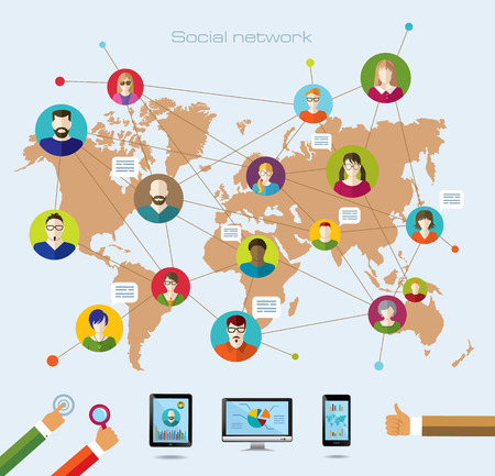 Social network and modern technology. Conceptual banner. Flat icons.