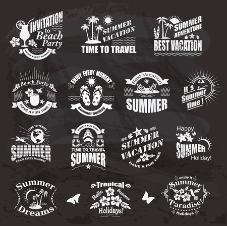 flops: Set of SUMMER design elements and frames. Travel and vacation labels on the chalkboard. Illustration