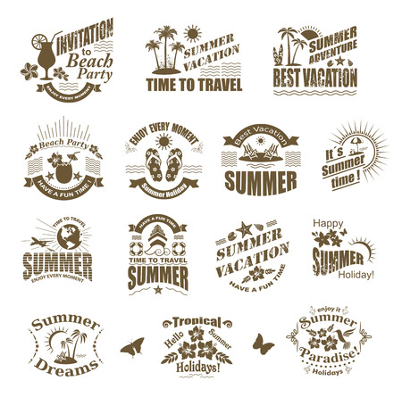 Set of SUMMER design elements and frames. Travel and vacation labels.  Vector