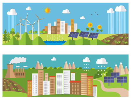 green environment: Set of environment and ecology banners. Green energy and pollution.