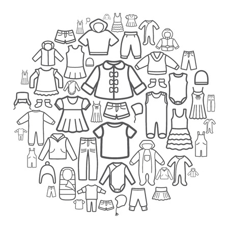 Line icons of children clothing. Vector