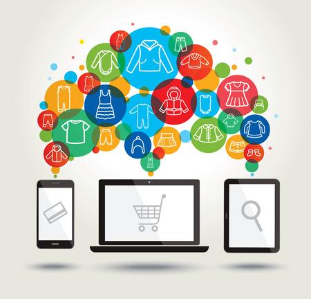 Online shopping. Modern technology. Children clothing icons. Vector