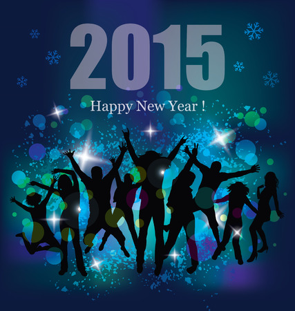 Happy new year 2015. Party background and young people. Vector