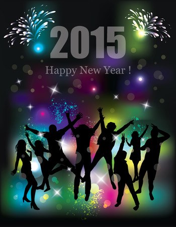 Happy new year 2015. Party background. Dancing people. Vector
