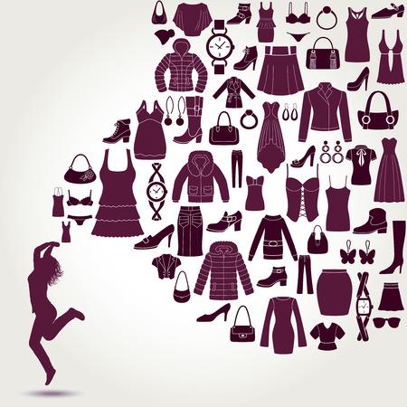 jeunes joyeux: Femmes de fond de la mode. V�tements et accessoires ic�nes. Happy jeunes femmes.