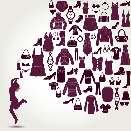 Women fashion background. Clothing and accessories icons. Happy young women. Vector