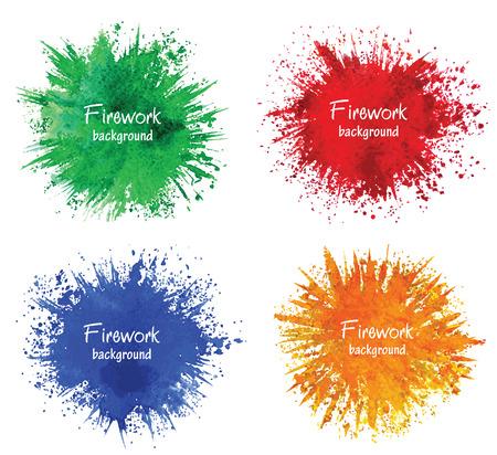 Watercolor firework splatter. Vector design elements.