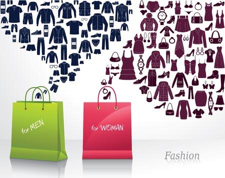 women  s fashion: Conceptual background with women s and men s fashion. Shopping.