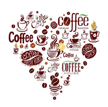Conceptuele achtergrond met koffie design elementen.