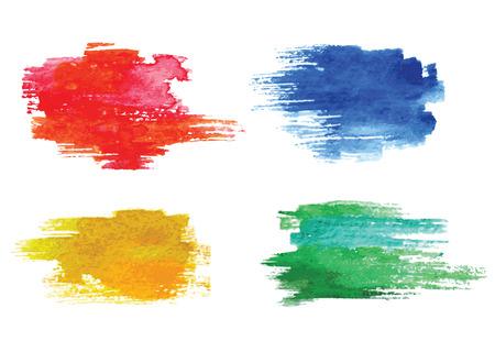 Elementos de diseño vectorial acuarela de colores.