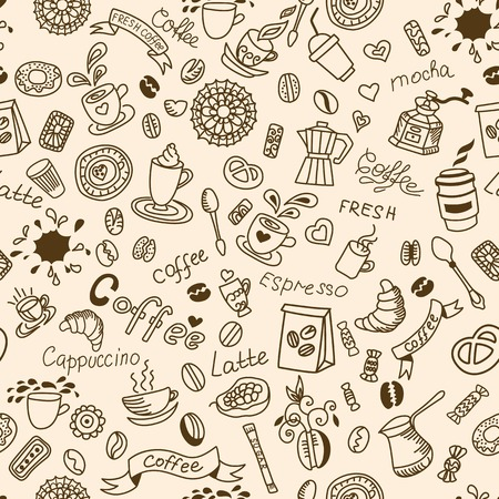 Seamless doodles background with coffee and bakery products. Vector