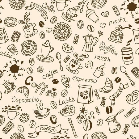 chicchi di caffè: Seamless doodles sfondo con caff� e prodotti da forno. Vettoriali