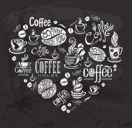 blackboard icon: Coffee labels. Design elements on the chalkboard. Illustration