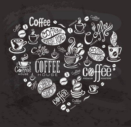 Coffee labels. Design elements on the chalkboard. Vettoriali