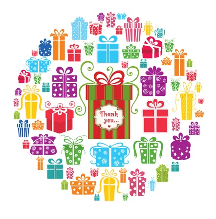 surprise box: Colorful vector gift boxes in the circle. Illustration