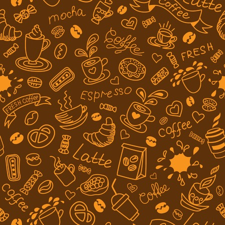 Seamless coffee background. Bakery products. Doodles pattern.