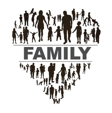 persone nere: Sfondo concettuale con la famiglia felice. Vettoriali