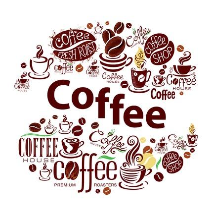 chicchi di caff�: Elementi di design caff� in stile vintage. Sfondo concettuale.
