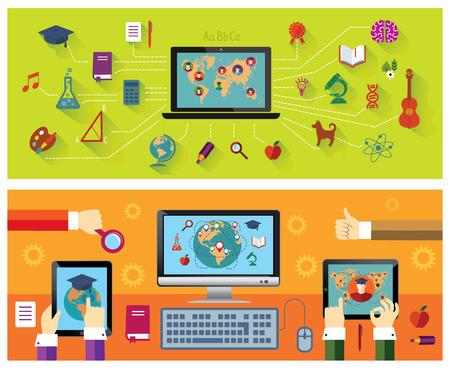 educaci�n en l�nea: Conjunto de banderas: La educaci�n en l�nea. La tecnolog�a moderna. Iconos de la educaci�n. Vectores