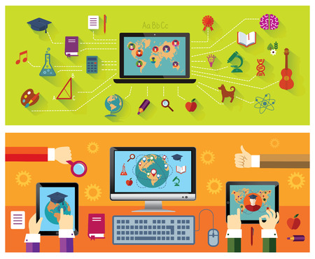 hand school education: Set of banners: Online education. Modern technology. Education icons. Illustration