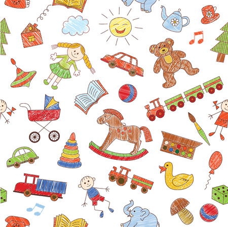 horse drawn carriage: Colorful seamless pattern, childish doodles. Vector background.