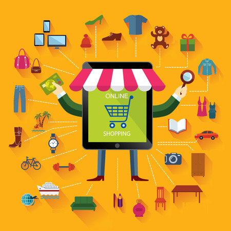 furniture computer: Online shopping and business. Conceptual background. Set of flat icons and design elements. Illustration