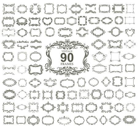 vintage: Conjunto de 90 quadros florais do vintage. VETOR. Ilustração