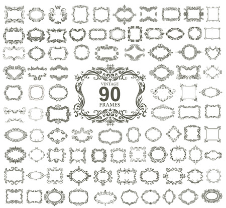 decoratif: Ensemble de 90 cadres floraux vintage. VECTOR. Illustration
