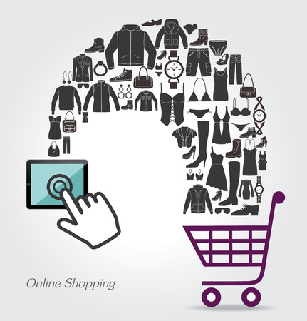 lady shopping: Online shopping. Conceptual background Illustration