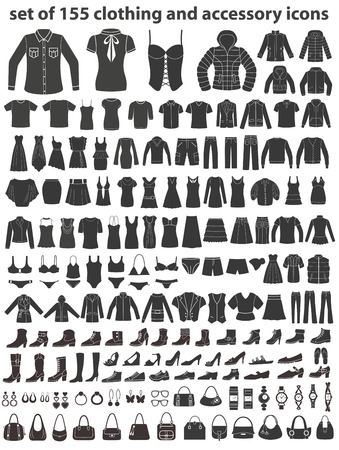 Set of 155 icons: clothing, shoes and accessories. 矢量图像