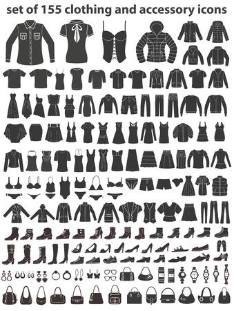 Zestaw 155 ikon: ubrania, buty i akcesoria. Ilustracje wektorowe