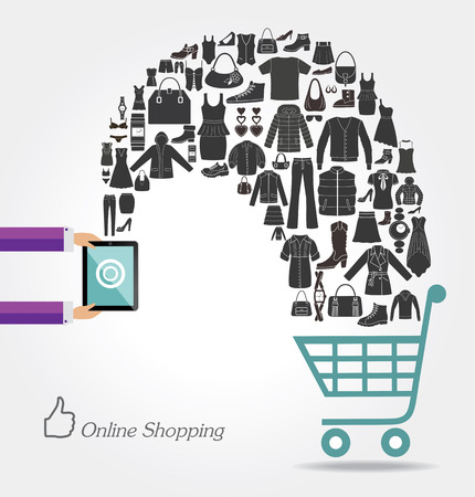 lady shopping: Modern technology and online shopping. Fashion background. Illustration