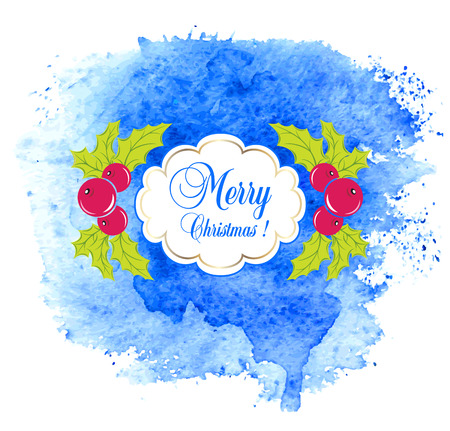 blue berry: Merry Christmas greeting card with holly berry. Vector.