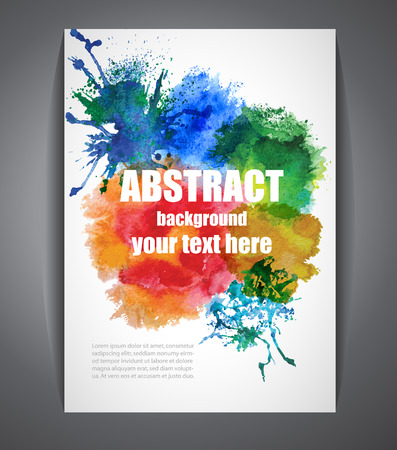 Colorful Vector Background with Watercolor Effect. Abstract Banner for Business, Flyers and Posters. Illustration