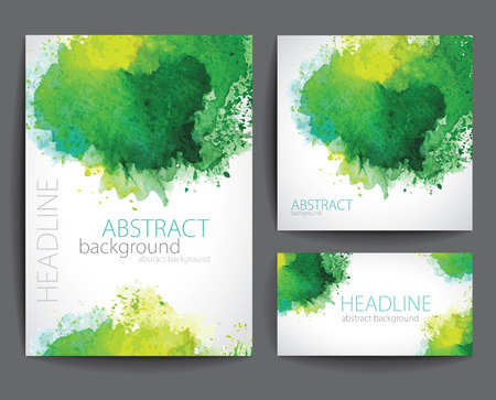 Set of Vector Banners with Green Watercolor Splash.